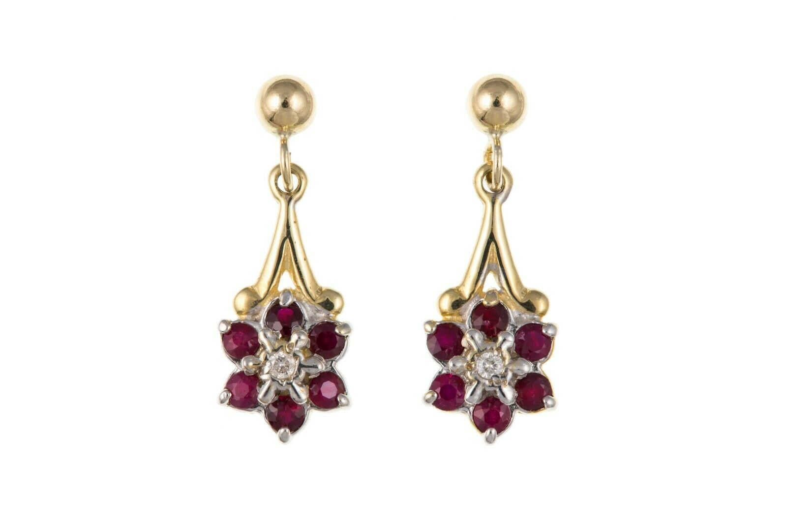 Ruby and Diamond Earrings Yellow gold Drop Drops Cluster Hallmarked Real Stones