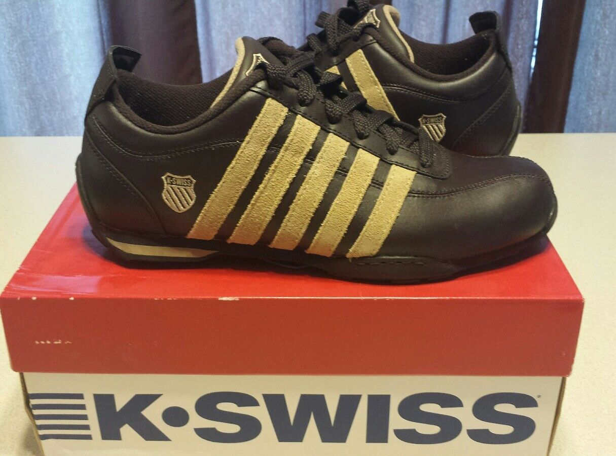 K-Swiss Classic Men's Arvee Low 7.5 shoes Dark Brown & Camel w  Box