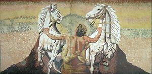 Strong Tough Man Hold Horse White Animal Marble Mosaic FG468