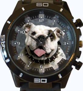 Blanco-Bulldog-Ingles-Nuevo-Serie-Gt-deportivo-unisex-regalo-reloj-de-pulsera