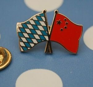 Freundschaftspin-Bayern-China-Pin-Badge-Button-Anstecker-Laenderpin-Sticker-AS