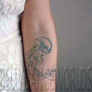 1 Set Of 2 Amazing Blue Jellyfish Temporary Tattoo Wrist Forearm