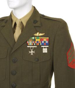 USMC-MARINE-CORP-MANS-PURE-WOOL-GREEN-SERGE-DRESS-ALPHA-JACKET-COAT-TOP