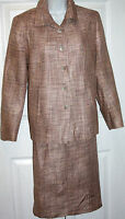 ANN FREEDBERG size 8 pale pink and tan  skirt suit blazer lined new without tags