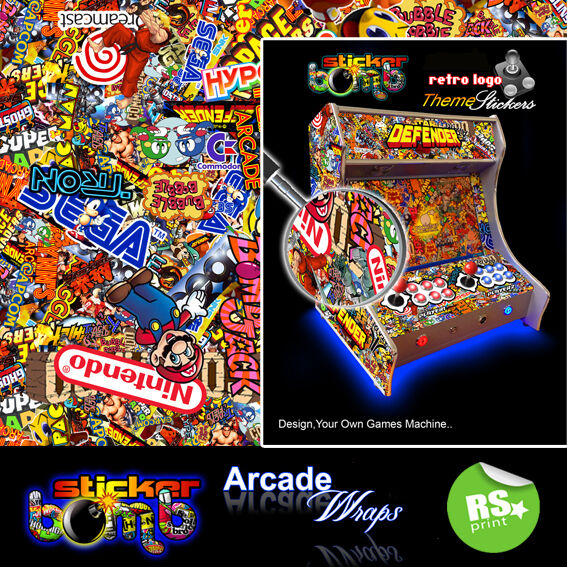 StickerBomb Arcade Machine Wrap Sticker Retro Game Theme large Sizes Available