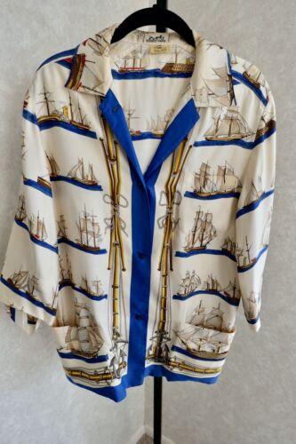 Vintage Hermes Rare Silk Nautical Boats Shirt Blou