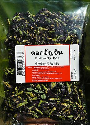 THAI BLUE BUTTERFLY PEA DRIED FLOWERS ORGANIC TEA MAKING COLOURING FOOD 100g