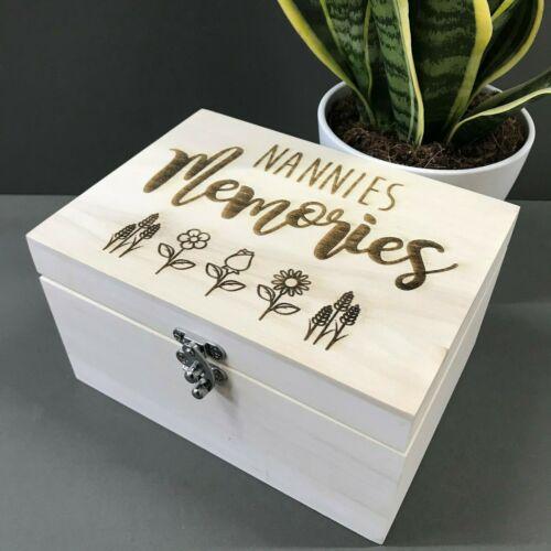 Wooden Engraved Nannies Memory Box Aunt Grandma Trinket Gift Nannan Nan