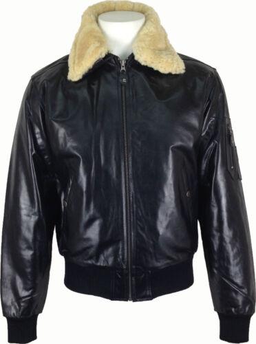 Real Fur Collar UNICORN Mens Aviator Pilot Leather Jacket /'All Sizes/' #P1