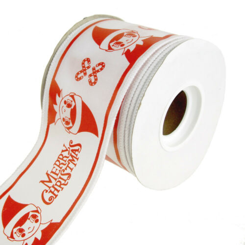 """Merry Christmas"" Elf WireEdge Ribbon, WhiteRed, 212Inch, 10 Yards"