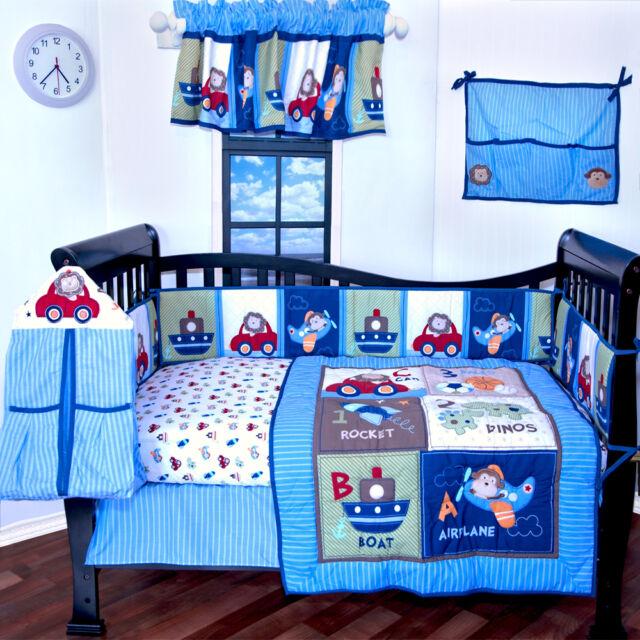 9 pieces Baby Boy crib bedding set, Toys,Cars,Boat,High quality,crib bumper,NEW
