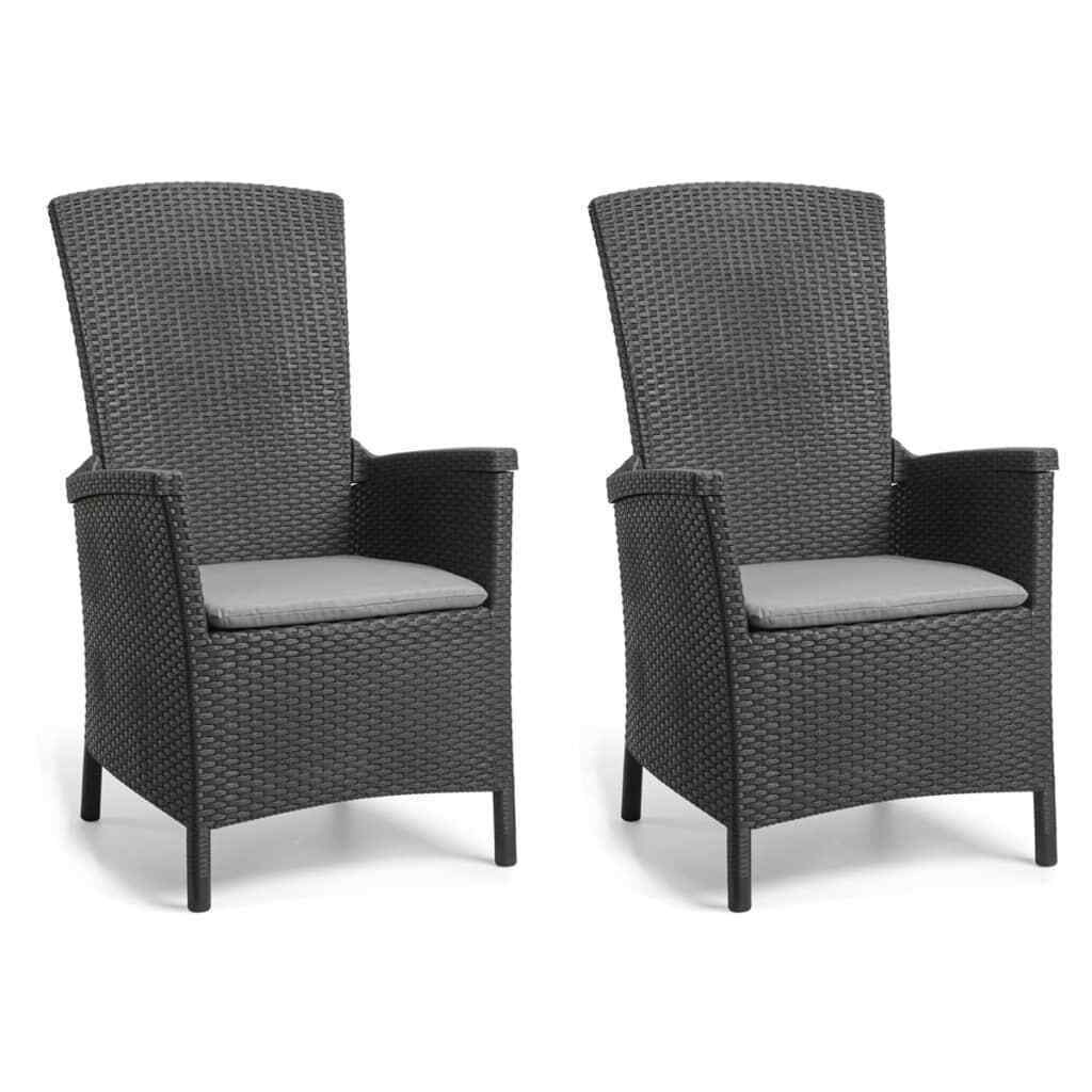 Allibert 1 2x Gartenstuhl Verstellbar Graphit Gartensessel Hochlehner Sessel