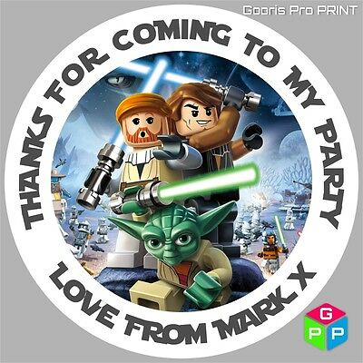 Up to 70 Stickers!! Birthday Party Thank  18 Personalised Lego Star Wars Yoda