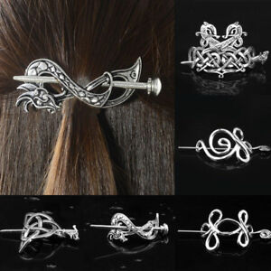 Women-Hairpin-Antique-Silver-Metal-Stick-Slide-Hair-Clip-Celtics-Knots-Hairpins
