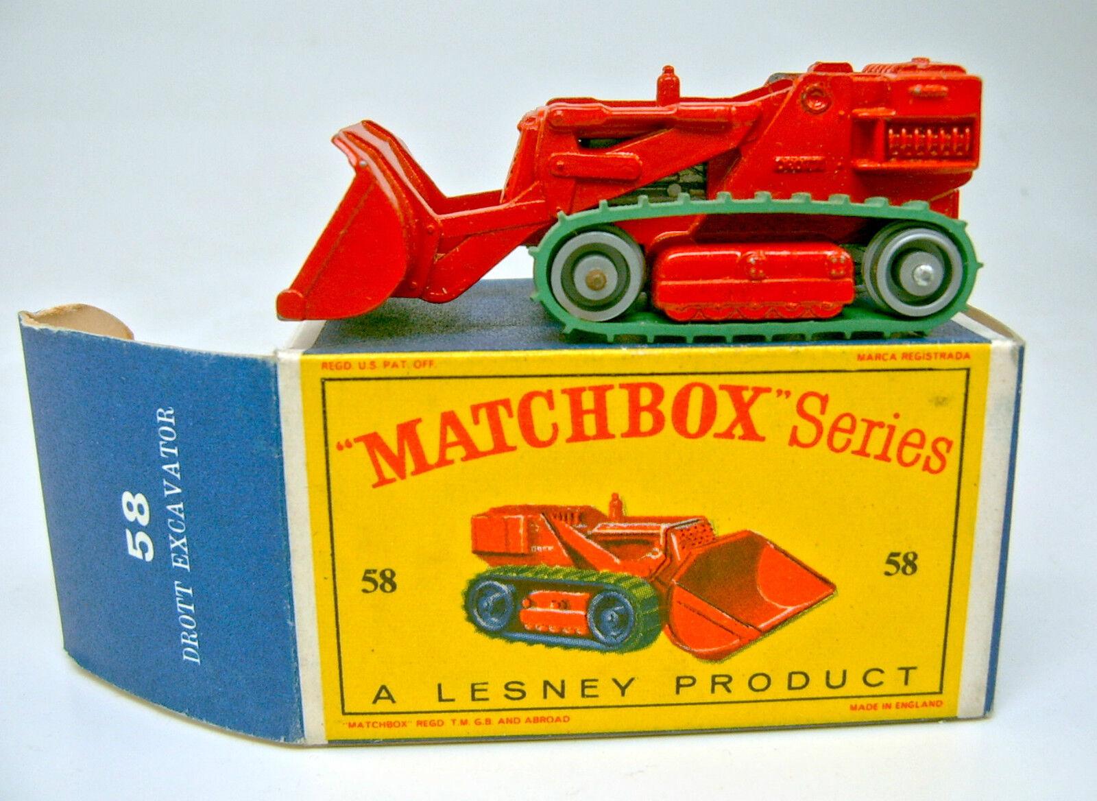 Matchbox RW 58B Drott Excavator rot rare silberne Rollen top in  D  Box