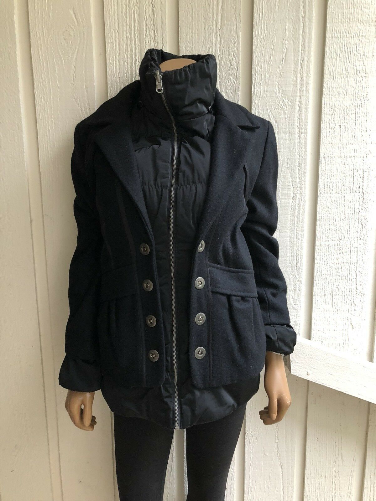 Et Dieu Crea La Femme Extravagant Double Layer PeaCoat with Down Vest Lining 36