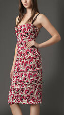 $1150 BURBERRY LONDON ANIMAL FLORAL PRINT RUCHED DRESS SIZE 4 US