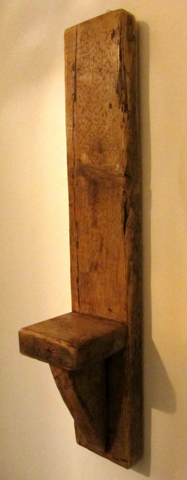 PAIR OF LARGE TALL 60CM SOLID PLANK WOOD RUSTIC RUSTIC RUSTIC WAXED WALL SCONCE CANDLE HOLDER 45c89f
