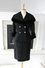"LILLI ANN NEW LOOK 50s Vintage  Pencil Skirt Velvet Shawl Suit Wasp Waist 26"""