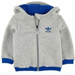 Details about Adidas Baby Winter Teddy Jacket Kids Sweatshirt Lined Hoodie Grey Blue show original title