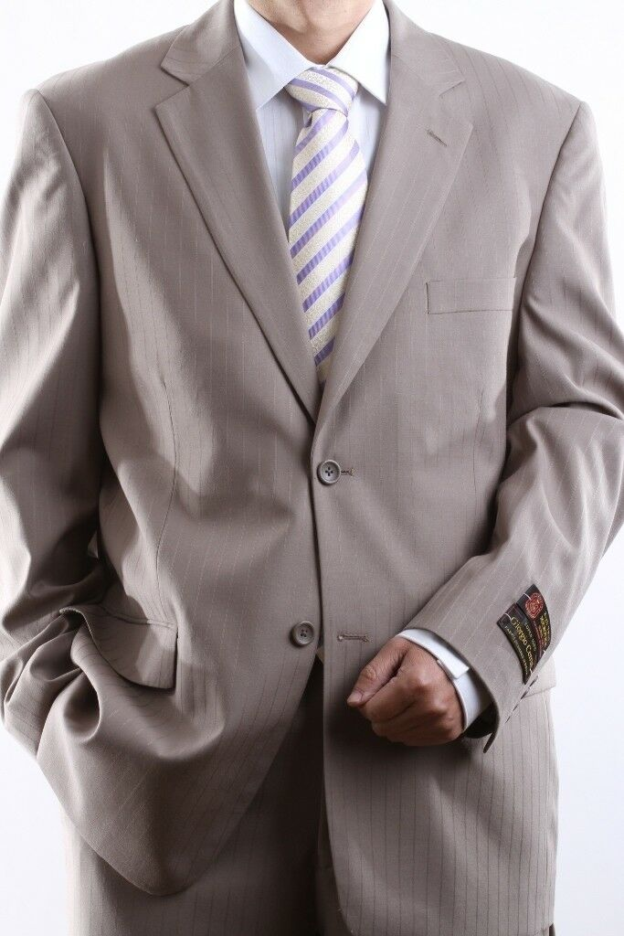 Herren TWO BUTTON TAN TONAL STRIPE DRESS SUIT SIZE 42S, PL-65712N-TAN