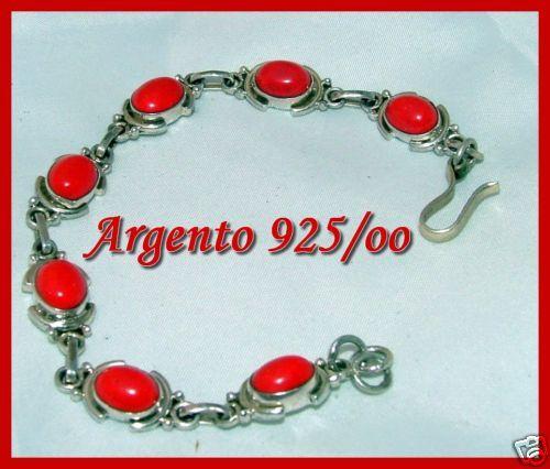 BRACCIALE ETNICO ETNICO ETNICO IN argentoO 925 CON CARBOCHON DI CORALLO ROSSO 16 60 gr 420068