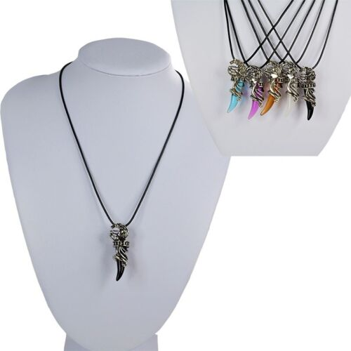 Retro Crystal Stainless Steel Wolf Pendant Leather Strap Punk Chain Necklace