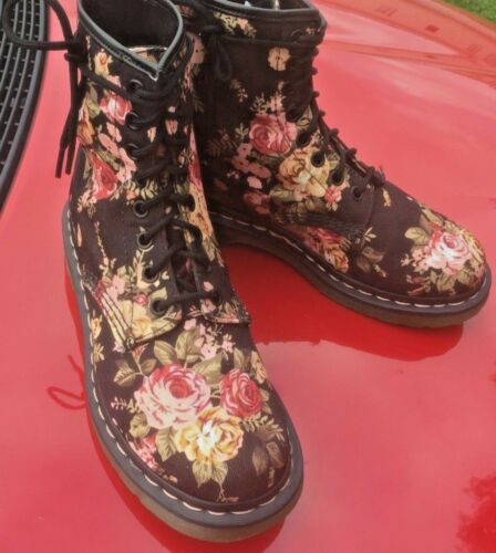 5 Canvas Boots Martens Dr Uk 38 1460 Flowers Victorian Black Eu w6ZUq8R