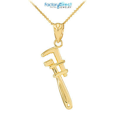 Fine 10k White Gold Monkey Wrench Pendant Necklace