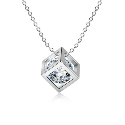 Gifts Fashion Christmas Silver Chain Hollow Necklace Cube Pendant Crystal
