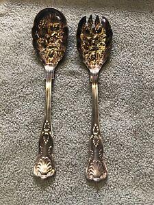 Antique William Adams Sheffield England Silver Plate Gilt Wash Salad Spoon Set
