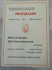 Programmheft 1988 Lok Stendal Motor Schönebeck DDR Liga Bezirk Magdeburg FCM