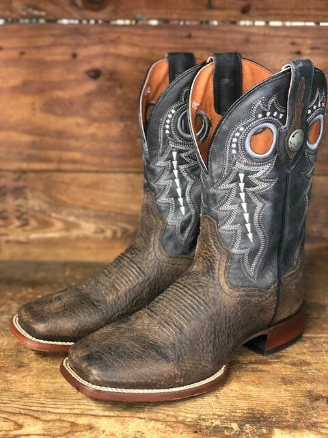 Dan Post Men's Black Distressed Bison Badlands Square Toe Western Boots DP3974