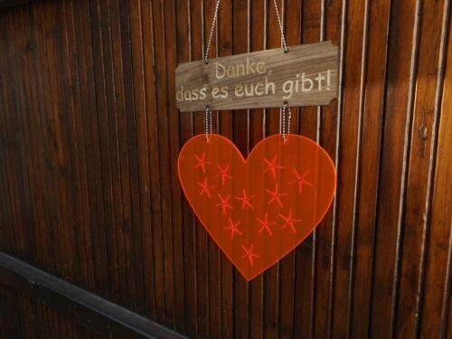 """Herz Acryl dass es euch gibt!/"""" + Holzschild /""""Danke"""
