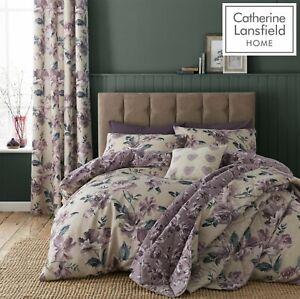 Catherine-Lansfield-Floral-Pintado-Cubierta-Edredon-Reversible-Juego-De-Cama-Ciruela