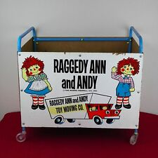 Vintage Raggedy Ann And Andy Doll Toy Box Roller Wheels Bobbs Merrill