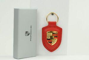 911-991-Porsche-Keyring-Arms-Leather-Red-Original