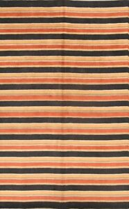Striped Design Modern Gabbeh Indian Oriental Hand-Knotted 7'x10' Wool Area Rug