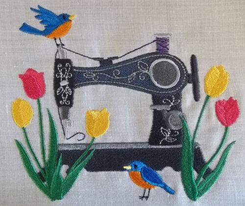 """Bloc de couette brodée panneau /""""machine à coudre tulipes/"""" pur lin irlandais tissu"""