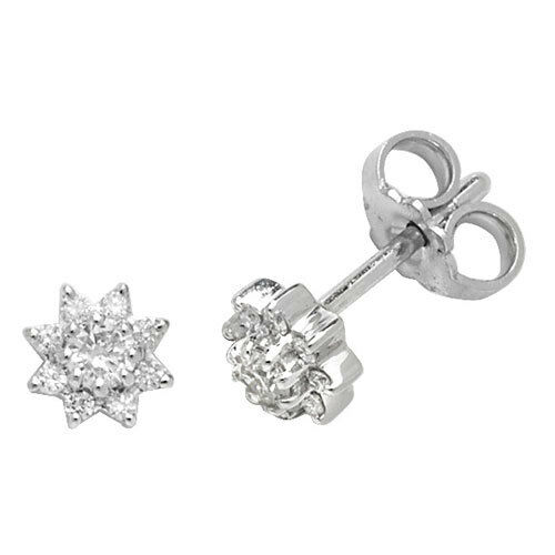 Diamond Cluster Stud Earrings White gold 0.25ctw Appraisal Certificate