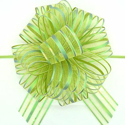 "Organza Pull Bow Large 6"" Pom Pom Bow 18 Colours Wedding~Celebration~Party~Gift"