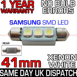 41mm-264-C10W-CANBUS-NO-ERROR-WHITE-NUMBER-PLATE-LIGHT-BULB-SAMSUNG-3-SMD-LED