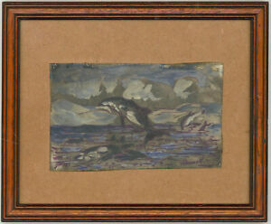 Terence-Paul-O-039-Donnell-b-1942-Signed-and-Framed-Oil-Killer-Whales