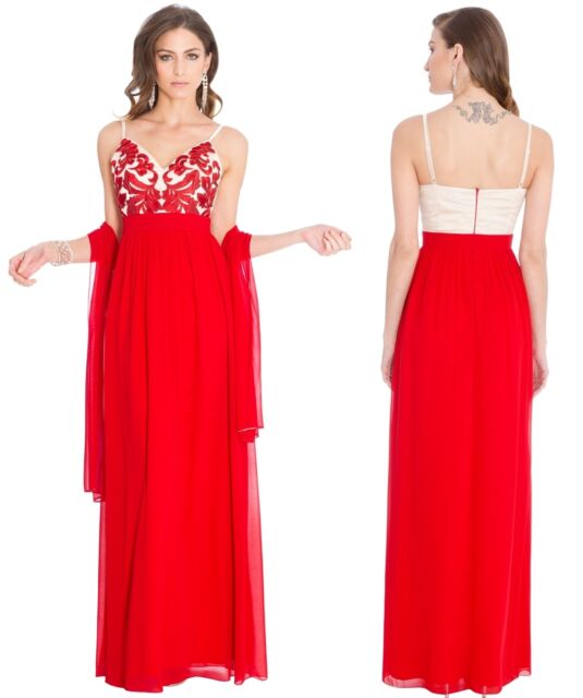 89904673eaeb Goddiva Red Chiffon Embroidered Maxi Evening Dress-Wrap RRP £75 Bridesmaid  Prom