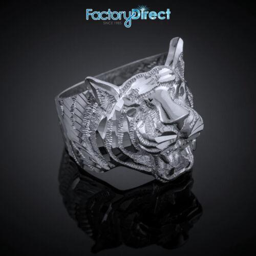 .925 Sterling Silver Diamond Cut Tiger Ring