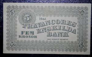 M/S Travancores Sweden Enskilda Bank 5 Kroner - WW2 Red Cross Ship Philippines