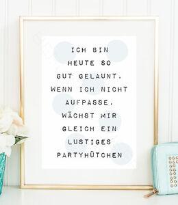 GUT-GELAUNT-Typo-Glueck-Spruch-gluecklich-Punkte-Kunstdruck-Poster