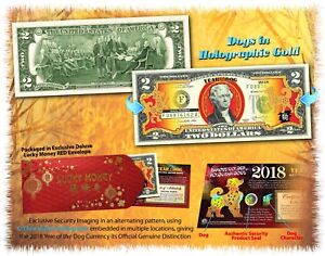 2018-Chinese-New-Year-U-S-Genuine-2-Bill-YEAR-OF-THE-DOG-Gold-Hologram-Red