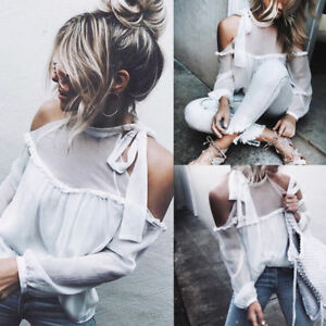 Women-Casual-Lace-Up-Tie-Cold-Off-Shoulder-Long-Sleeve-Tops-Blouse-T-Shirt-Hot