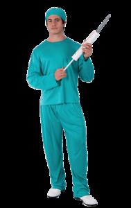Mens Doctor Costume Hospital Blue Scrubs Surgeon Halloween Fancy Dress Costume